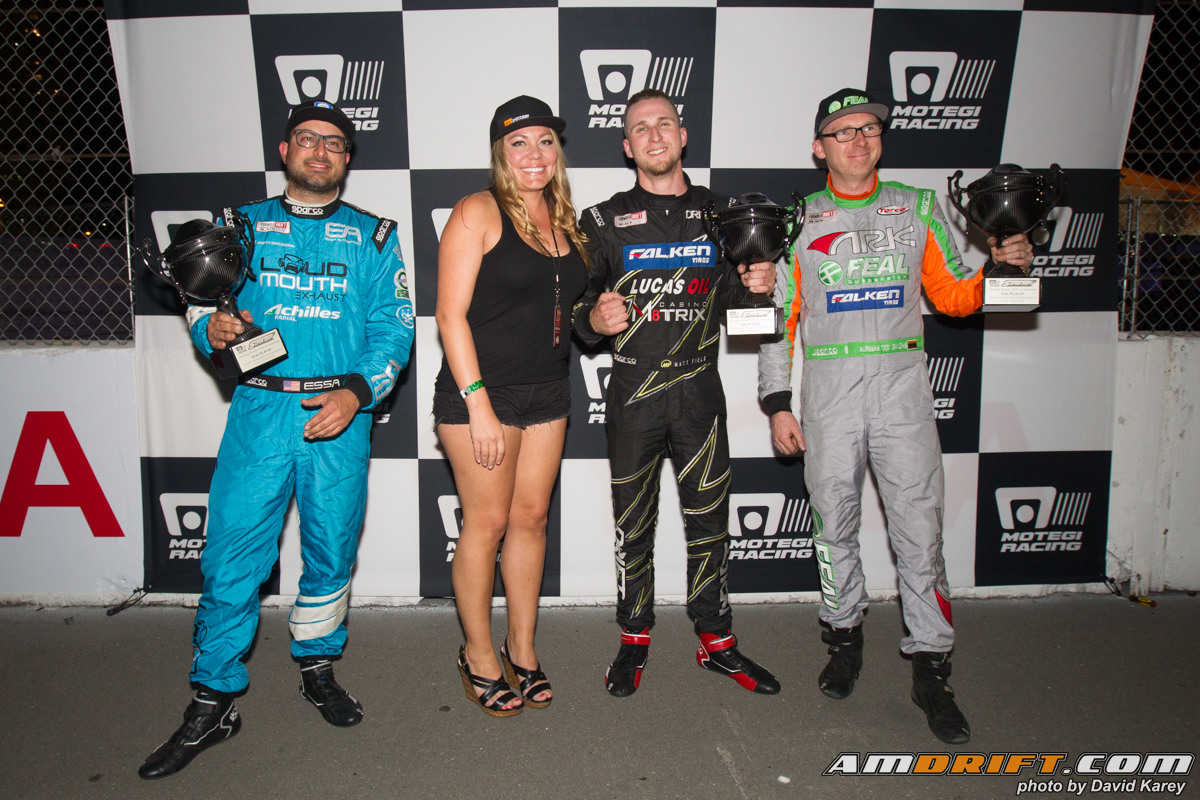 The motegi racing super drift challenge was tough under the lights of the grand prix of long beach matt field takes out some tough competition and takes